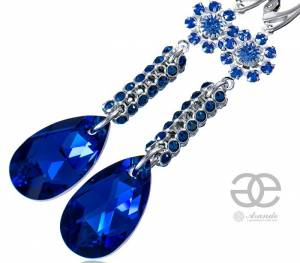 SWAROVSKI EARRINGS *BLUE CRYSTALLIZED* STERLING SILVER 925