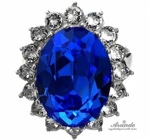 KATE RING SWAROVSKI CRYSTALS *ROYAL BLUE* STERLING SILVER 925 CERTIFICATE