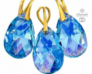 SWAROVSKI BEAUTIFUL EARRINGS PENDANT AQUA GOLD PLATED STERLING SILVER