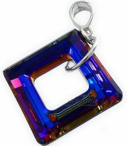 SWAROVSKI NECKLACE *VOLCANO SQUARE* STERLING SILVER