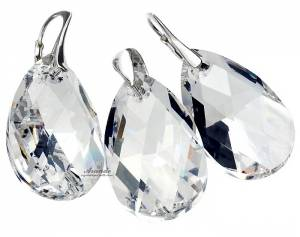 SWAROVSKI CRYSTALS LARGE EARRINGS+NECKLACE+CHAIN STERLING SILVER 925