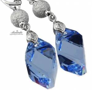 SWAROVSKI EARRINGS *SAPPHIRE DIAMOND* STERLING SILVER