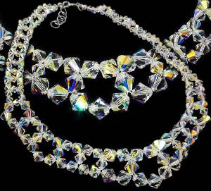 SWAROVSKI BEAUTIFUL WEDDING NECKLACE AURORA STERLING SILVER 925