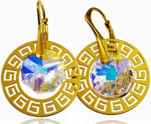 SWAROVSKI EARRINGS *AURORA GREEK* GOLD PLATED STERLING SILVER