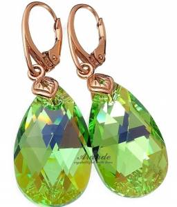 NEW! SWAROVSKI EARRINGS PERIDOT ROSE GOLD SILVER 925 CERTIFICATE
