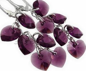 SWAROVSKI EARRINGS AMETHYST HEART STERLING SILVER