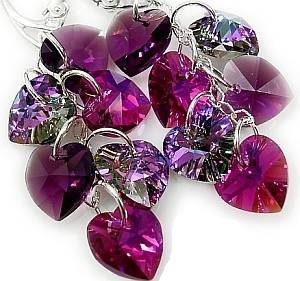SWAROVSKI CRYSTALS *VIOLET HEART MIX* EARRINGS STERLING SILVER CERTIFICATE