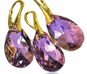 NEW SWAROVSKI EARRINGS PENDANT LIGHT AMETHYST AB GOLD PLATED STERLING SILVER