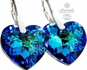 SWAROVSKI CRYSTALS BEAUTIFUL EARRINGS BLUE HEART STERLING SILVER 925