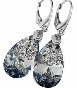 SWAROVSKI CRYSTALS *COMET FLOWER* UNIQUE EARRINGS STERLING SILVER 925