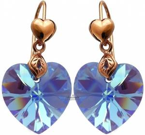 SWAROVSKI BEAUTIFUL EARRINGS BLUE HEART ROSE GOLD SILVER