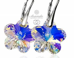 SWAROVSKI EARRINGS AURORA FLOWER STERLING SILVER 925