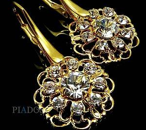 SWAROVSKI CRYSTALS EARRINGS FLOW GOLD 24K GOLD PLATED STERLING SILVER