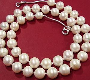NATURAL LARGE WHITE PEARLS BEAUTIFUL NECKLACE STERLING SILVER