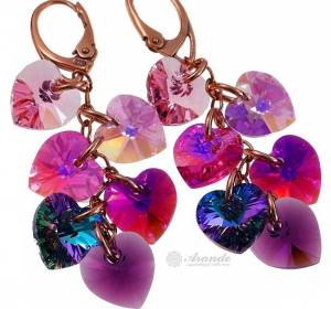 EARRINGS SWAROVSKI CRYSTALS HEART MIX ROSE GOLD PLATED STERLING SILVER