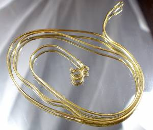 CHAIN 60 CM 24K GOLD PLATED STERLING SILVER SNAKE MADE IN ITALY
