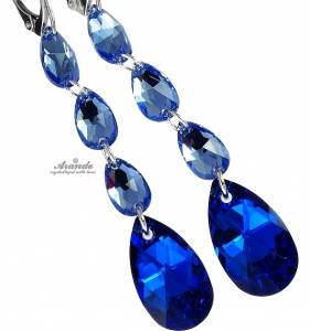 SWAROVSKI EARRINGS PENDANT *BLUE COMET GLOSS* STERLING SILVER