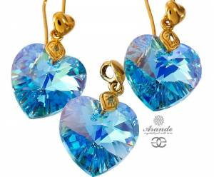 SWAROVSKI UNIQUE EARRINGS AQUA HEART GOLD PLATED STERLING SILVER