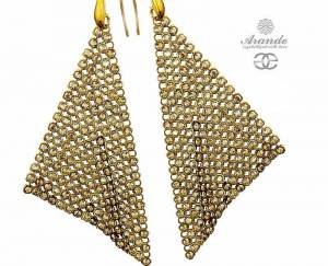 SWAROVSKI GENUINE EARRINGS *GOLDEN CRYSTALLIZED* GOLD PLATED STERLING SILVER