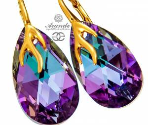 SWAROVSKI DECORATIVE EARRINGS VITRAIL GOLD PLATED SILVER