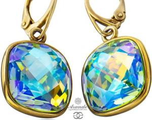 NEW SWAROVSKI EARRINGS PERIDOT BLUE AURORA SQUARE GOLD PLATED STERLING SILVER