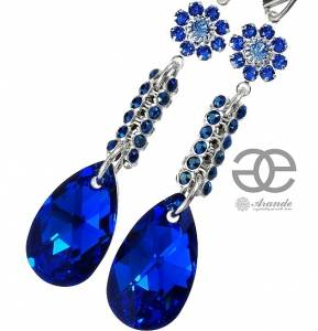 NEW SWAROVSKI CRYSTALS *BLUE CRYSTALLIZED* EARRINGS STERLING SILVER 925