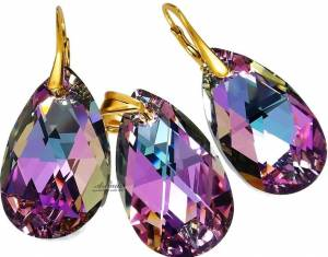 SWAROVSKI CRYSTALS LARGE EARRINGS+PENDANT *VITRAIL GOLD* 24K GOLD PLATED SILVER