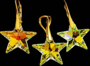 SWAROVSKI CRYSTALS EARRINGS+PENDANT *AURORA STAR GOLD* 24K GOLD PLATED SILVER