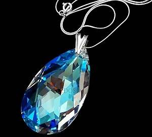 SWAROVSKI NECKLACE BLUE AURORA STERLING SILVER PENDANT CHAIN